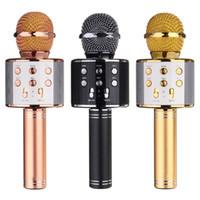 Wholesale recording microphone usb - WS-858 Wireless Bluetooth Karaoke Handheld Microphone USB KTV Player Bluetooth Mic Speaker Record Music Microphones Hot Sale