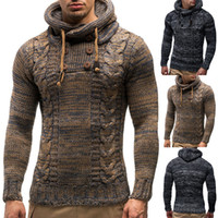 Wholesale long turtleneck cardigan sweater coat resale online - 2018 Men Sweater Autumn Winter Pullovers Knitted Cardigan Coat Hooded Sweaters Jacket Outwear Casual Slim Fit Turtleneck Top High Quality
