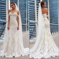 Wholesale modest corset resale online - Modest Lace Mermaid Wedding Dresses Off The Shoulder Applique Beach Wedding Dress Corset Plus Size Bridal Gowns Custom Made