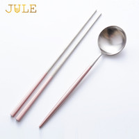 Wholesale Korean Stainless Steel Chopsticks Set - Korea 18  10 Stainless Steel Korean Pink Chopsticks Spoon Set Dessert Spoons Long Handle Chinese Chop Sticks Sets Dinnerware