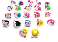 Wholesale pvc channels - New Fashion Colorful Cute Unicorn PVC Rings Kids Soft Silicone Finger Rings Gifts Accessory Jewelry Free Shipping