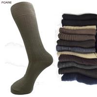 ingrosso calzini marroni per gli uomini-Fcare 6PCS = 3 paia di abiti da uomo in cotone più grandi dimensioni 44,45,46,47 gamba lunga marrone, grigio blu banda nera