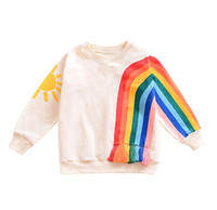 Wholesale 3t christmas sweater - Baby Girls Rainbow Sweater Kids Long Sleeved Hoodie Cartoon Rainbow Printed Tassels T-shirt Autumn Winter New children Clothing