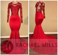 perlenhalskleid großhandel-Rot schiere langen Ärmeln Meerjungfrau Prom Abendkleider Rundhalsausschnitt Spitze Applique Perlen Sweep Länge afrikanische Party Kleider