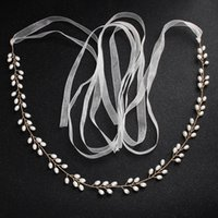 Wholesale pearl for wedding dress accessories for sale - Gold Wedding Sashes Bridal Belt Pearls adornment For Wedding Prom Party Evening Dress accessories Belt cm hand made In Stock