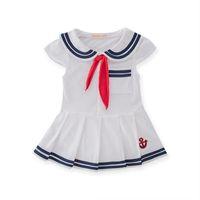 marine mädchen hüte großhandel-Baby Mädchen Kleider Newborn Coon Kleid Sommer Coon Baby Strampler für Mädchen Navy Sailor Kleid s Overall Baby Kleidung Hut