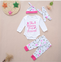 Wholesale Three Years Girls Clothes - 0-2 Year Baby Girls Clothing Sets Toddler Newborn Infant outfit Long Sleeve Letter Romper Pants Cap Headband