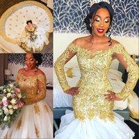 vestidos de boda de cristal largos del tren de lujo al por mayor-Vestido de novia de oro de la sirena de lujo con tren desmontable Crystal Beads apliques de encaje de manga larga vestido nupcial increíble vestido de novia de África