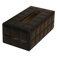 Wholesale napkins box cover case - Durable Home Car Rectangle PU Leather Tissue Box Paper Holder Case Cover Napkin