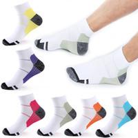 Wholesale compression short soccer online - Multicolor Casual Sports Compression Socks Vein Short Tube Elastic Compression Sock Breathable Sweat absorbent Foot Socks Color G463Q