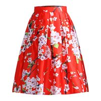 Wholesale Ladies Floral Knee Length Skirts - 2018 Hot Summer Classic Retro Flower Printed Skirts Princess Dress for Women Lady best gift