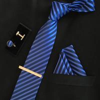 Wholesale Tie Cufflinks Handkerchief Set - men 8cm fashion brand luxury necktie pocket square wedding tie clips set cufflinks handkerchief