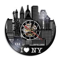 Wholesale liberty homes - 1Piece Statue Of Liberty I Love New York City Vinyl Record Wall Clock Charm City Modern City Landscape Unique Home Decor Art