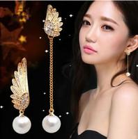 Wholesale Gold 18k Rings Wings - Fashion Women Elegant Wings Rhinestone Ear Stud Gold Dangle Earrings Jewelry Asymmetric Pearl Earring Ear Ring Asymmetric Pearl Earring Stud