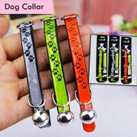 Wholesale paw dog collar - Puppy Pet Dog Print Collar Cat Neck Strap Necklace with PU Material and Soft Cotton Paw Patten Collar with Bell for Pet Dogs AAA513