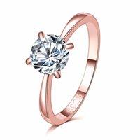bague plaquée or fanée achat en gros de-Jamais Fade Top qualité 1.2ct or rose plaqué grand CZ diamant bagues 4 griffe de mariage bague pour les femmes