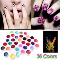 ingrosso gel solido dei chiodi-Anself Beauty 36 Colori Set di pigmenti per nail art Smalto gel UV Colla solida Vernice a lunga durata Vernice gel colorato