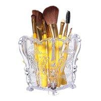 acryl kosmetiktöpfe großhandel-Neue Design Damen Acryl Cosmetic Make-Up Pinsel Topf Fall Halter Aufbewahrungsbox Hot
