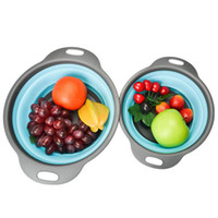 Wholesale wholesale fruit baskets - Plastic Strainer Basket Foldable Kitchen Tools Colander Creative Drain Basket Vegetable Fruit Wash Basket Filter 100pcs MMA118