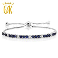 ingrosso braccialetto diamante blu zaffiro-GemStoneKing 2.05 Cttw Blue Sapphire White Diamond Bracciale regolabile in argento sterling 925 per le donne