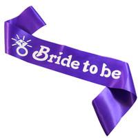 свадебная партия створка фиолетовые оптовых-Новый дизайн кольцо невесты, чтобы быть белые буквы девичник пояс бледно-розовый фиолетовый лента сладкий свадебный душ девичник