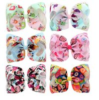 Wholesale Bubble Cartoon - jojo bows 8 in kids Bows baby boy New kids cartoon candy gradient ribbed bow bubble hairpin hair accessories