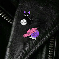 Wholesale witches balls online - Bad witch pin Crystal ball witch hands black cat skull head pin Hard enamel pin Halloween Jewelry drop shipping