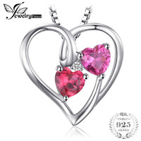 Wholesale natural ruby stone jewelry - JewelryPalace Love 1.2ct Heart Created Rubies Pink Sapphires Pendant 925 Sterling Silver Wedding Jewelry Not Include the Chain