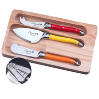 Wholesale jam spreader resale online - New Laguiole Style Piece Cheese Knives Spreader w MultiColor Handles Jam Butter knife Set in Wooden Box LG06