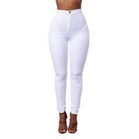 calças de estiramento branco para mulheres venda por atacado-Doce Cor Jeans Skinny Mulher Branco Preto Cintura Alta Render Jeans Do Vintage Calças Compridas Calças Lápis Denim Stretch Feminino