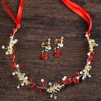 ingrosso cappelli di fiori rossi-Red Rose Gold Crystal Head Vine Fashion Sposa Hairbands Flower Wedding Fascia nuziale Accessori per capelli Copricapo Tiara con orecchini