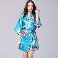5d09774f2e short sexy silk sleepwear Australia - Women Sexy Sleepwear Fashion Peacock  Silk Sleepwear For Lady Plus