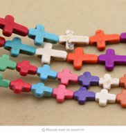 Wholesale semi precious cross resale online - 37pcs pack cm cm cm Cross Loose Semi Precious Stones Spacer Beads Created Seed Beads DIY Jewelry Necklace F1321