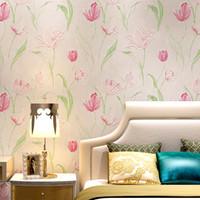 3d çiçek duvar sanatı toptan satış-Yatak odası Duvarlar 3D Kalınlaşmış Dokumasız duvar kağıdı Lotus Flower İçin Toptan-Çağdaş Moda Sanat Çiçekli Salon Arkaplan Dekor Duvar Kağıdı