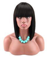 peruca virgem venda por atacado-Curto Bob Lace Wigs Com Franja Brasileira Virgem Cabelo Liso Rendas Frente Perucas de Cabelo Humano Rendas Suíço Perucas Frontais