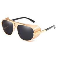 55764afad5 Escudo de gran tamaño gafas de sol de los hombres Steampunk oro negro Full  Metal moda UV400 gafas de sol polarizadas gafas gafas de sol 2018