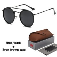 Wholesale Glass Bridges - New Arrial 3647 Steampunk sunglasses women men metal frame double Bridge uv400 lense Retro Vintage sun glasses Goggle 11 colors with box