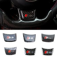 Wholesale carbon fiber steering wheels - 3D Carbon Fiber Sticker Steering Wheel S line RS Emblem Badge Decal for Audi A3 A4 A5 Q3 Q5 Q7 S3 S4 S6