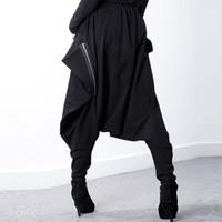 black harem pants pockets 2018 - ZANZEA Женщины Черная эластичная талия Мешковатые брюки с низким кротовым брюком Карманы Нерегулярные готические длинные брюки Hip-Hop Harem Pantal Plus Plus Размер