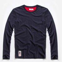 fantastische farbhemden großhandel-New Solid T-Shirt Herren Langarm T-Shirt Baumwolle Multi Pure Color Phantasie Garne Waschen T-Shirt für Männer Freies Verschiffen