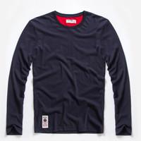 gömlek ipliği toptan satış-Yeni Katı T-Shirt Erkek Uzun Kollu T-Shirt Pamuk Çok Saf Renk Fantezi Iplikler Yıkama Tee Gömlek Erkek Ücretsiz Nakliye Için