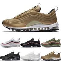 Wholesale art bullets for sale - 97 Running Shoes S OG QS Metallic Gold Silver Bullet Triple White Black Mens Womens Designer Trainer Casual Sports Athletic Sneakers