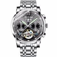 ewige kalender männer mechanische uhren großhandel-DOM Watch Dome mechanische Uhr Hohl Herren Woche leuchtet Perpetual Kalender Herren M-75L-1MW