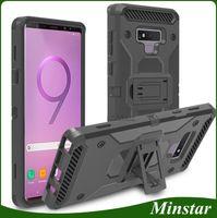 ingrosso casse di chiusura alcatel-Custodia Heavy Kickstand + Clip da cintura Fondina combinata per Samsung Galaxy Note 8 9 J3 Ottieni J337 J7 Refine J737 2018 Alcatel 7 Revvl 2 Plus Folio