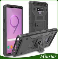 alcatel kickstand fällen großhandel-Heavy Kickstand Case + Gürtelclip Combo Holster für Samsung Galaxy Note 8 9 J3 Erzielen J337 J7 Verfeinern J737 2018 Alcatel 7 Revvl 2 Plus Folio