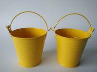 ingrosso piccoli favori di nozze di stagno-D7.5XH7.5CM (D3inch * H3inch) Barattoli di latta gialli Bomboniere Porta mini secchi, mini secchi Accessori per la casa e il giardino