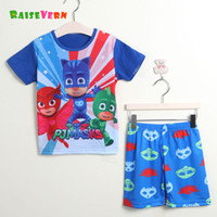 Wholesale Cute Summer Clothes For Boys - 2017 PJ Mask Summer Cute 2PCS Children's Outfit Funny Cartoon T- Shirt Pant Suits Boy School Short Sleeve Clothing Sets For Kids