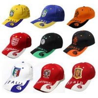 Wholesale Nationals Hats - 2018 Russia World Cup Cans Ball Hats Snapback National Teams Caps Hats Sports Ball Caps for Brazil France Italy Ball Caps CCA8697 50pcs