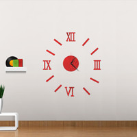Wholesale home decor sticker wall clock - 3D Creatively Romae Digital Wall Clock Sticker Watch Modern Design Clock DIY Clocks On Wall Kitchen Clock Living Room Home Decor