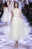 linea de marfil zuhair murad al por mayor-2018 Zuhair Murad una línea de longitud del tobillo corto joya de organza de marfil 3D-Floral Apliques vestidos de novia de la vendimia vestidos de novia baratos
